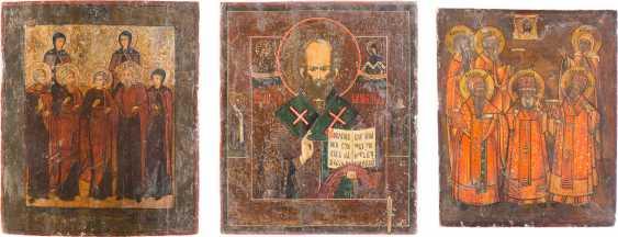 THREE ICONS: TWO PATRONAL ICONS AND SAINT NICHOLAS OF MYRA - photo 1