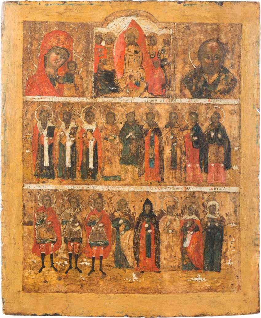 MORE FIELD ICON OF THE MOTHER OF GOD OF KAZAN, THE HARROWING OF HELL CHRIST AND SELECTED SAINTS - photo 1