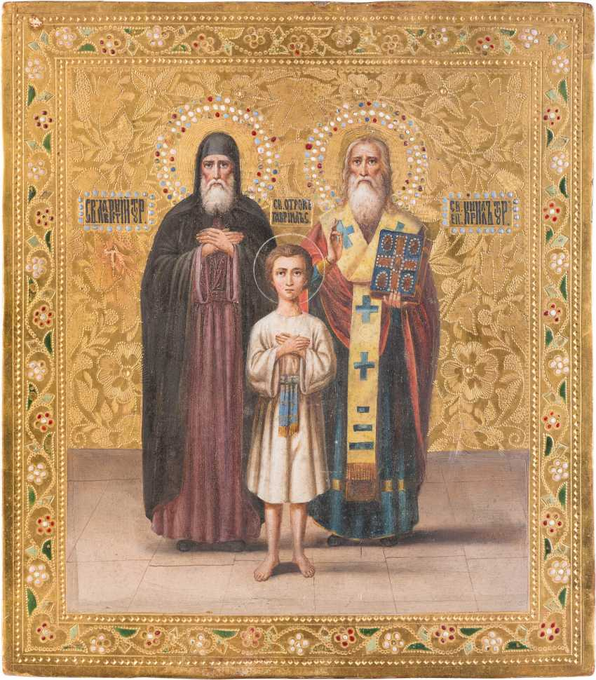 ICON WITH THREE SAINTS, LAWRENCE, GAVRIIL AND KIRILL - photo 1