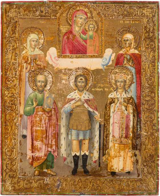 ICON OF THE MOTHER OF GOD OF KAZAN WITH FIVE SELECTED SAINTS - photo 1