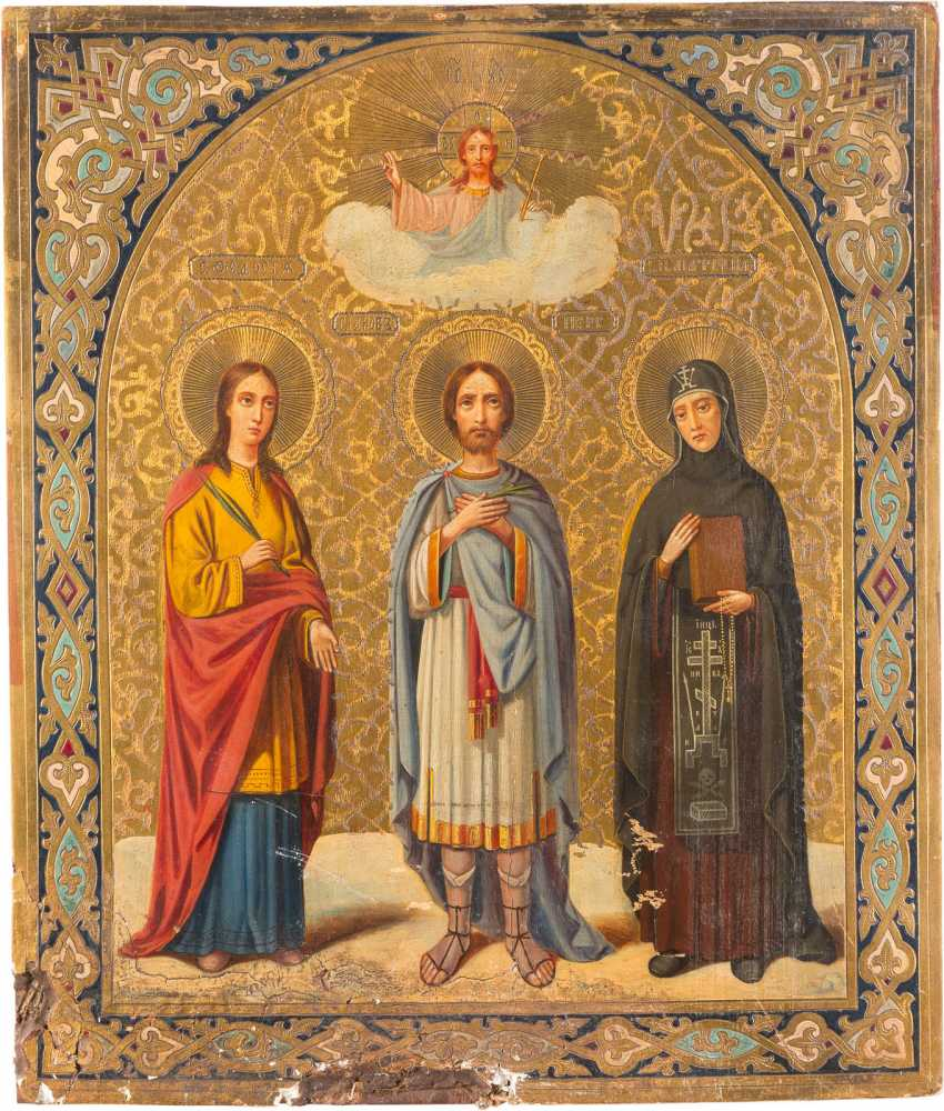 SIGNED AND DATED ICON WITH THE HOLY FEODOSIA, JAMES, THE PERSIANS AND THE MATRONA - photo 1