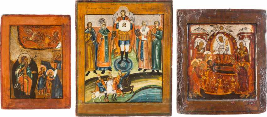THREE ICONS: PROPHET ELIAS, DORMITION OF THE MOTHER OF GOD AND SELECTED SAINTS, INCLUDING FLORUS AND LAURUS - photo 3