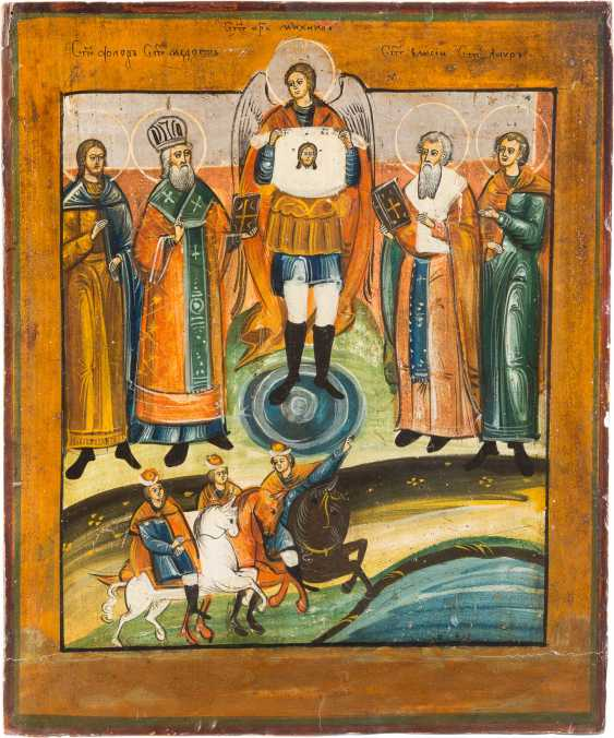 THREE ICONS: PROPHET ELIAS, DORMITION OF THE MOTHER OF GOD AND SELECTED SAINTS, INCLUDING FLORUS AND LAURUS - photo 4