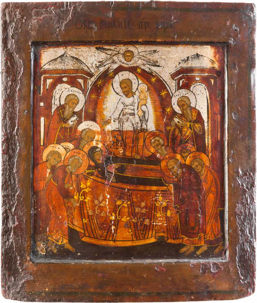 THREE ICONS: PROPHET ELIAS, DORMITION OF THE MOTHER OF GOD AND SELECTED SAINTS, INCLUDING FLORUS AND LAURUS - photo 1
