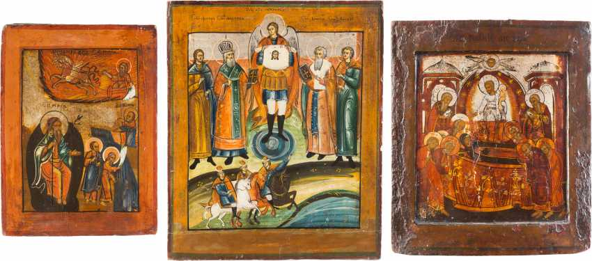 THREE ICONS: PROPHET ELIAS, DORMITION OF THE MOTHER OF GOD AND SELECTED SAINTS, INCLUDING FLORUS AND LAURUS - photo 2