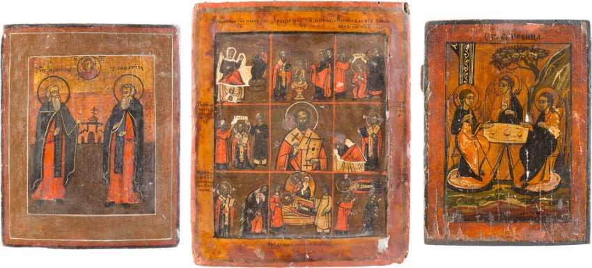 THREE ICONS: ZOSIMA AND SAWATIJ, OLD TESTAMENT TRINITY AND THE VITA ICON OF ST. NICHOLAS OF MYRA - photo 1