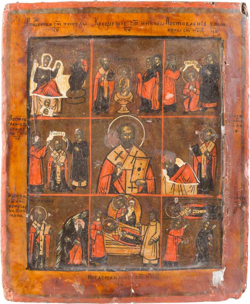 THREE ICONS: ZOSIMA AND SAWATIJ, OLD TESTAMENT TRINITY AND THE VITA ICON OF ST. NICHOLAS OF MYRA - photo 2