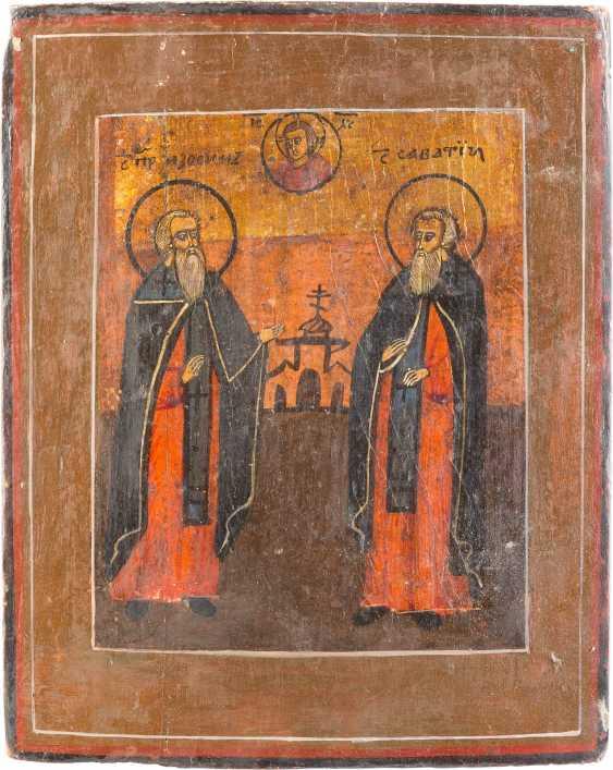 THREE ICONS: ZOSIMA AND SAWATIJ, OLD TESTAMENT TRINITY AND THE VITA ICON OF ST. NICHOLAS OF MYRA - photo 3