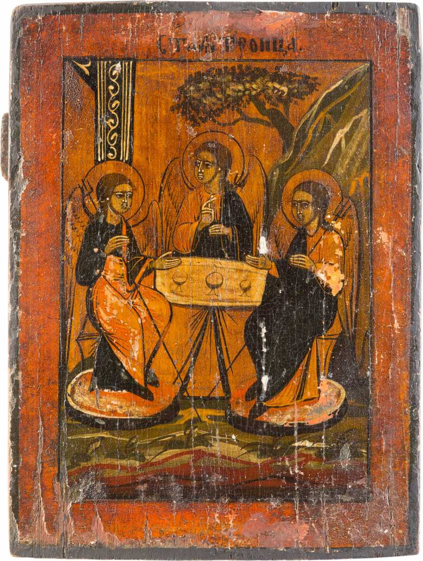 THREE ICONS: ZOSIMA AND SAWATIJ, OLD TESTAMENT TRINITY AND THE VITA ICON OF ST. NICHOLAS OF MYRA - photo 4