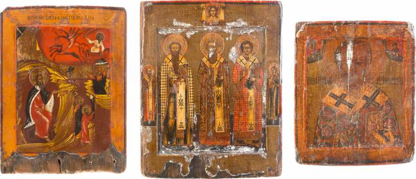 THREE ICONS: ST NICHOLAS OF MYRA, PROPHET ELIAS, AND THE THREE HIERARCHS - photo 1