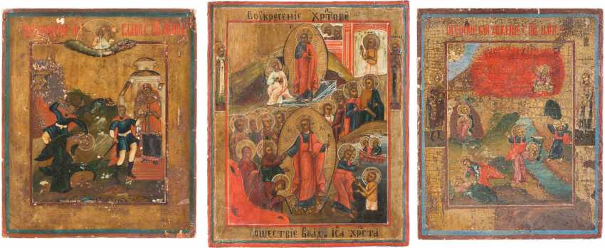 THREE SMALL ICONS: BEHEADING OF JOHN THE FORERUNNER, PROPHET ELIAS, AND OF CHRIST AUFERSTHUNG AND HELL TRAVEL - photo 1