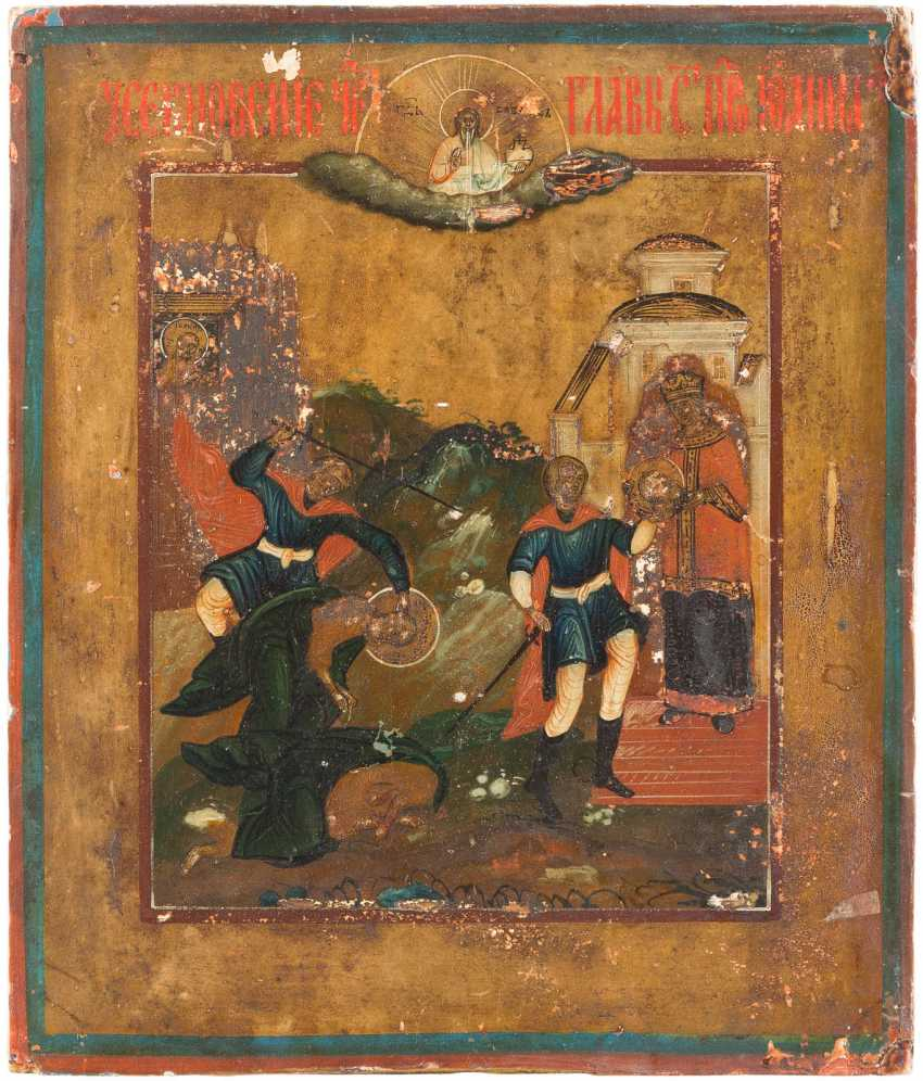 THREE SMALL ICONS: BEHEADING OF JOHN THE FORERUNNER, PROPHET ELIAS, AND OF CHRIST AUFERSTHUNG AND HELL TRAVEL - photo 3