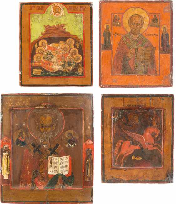 FOUR SMALL ICONS WITH THE SAINTS NICHOLAS OF MYRA, ST. MICHAEL THE ARCHANGEL AND THE SEVEN SLEEPERS OF EPHESUS - photo 1