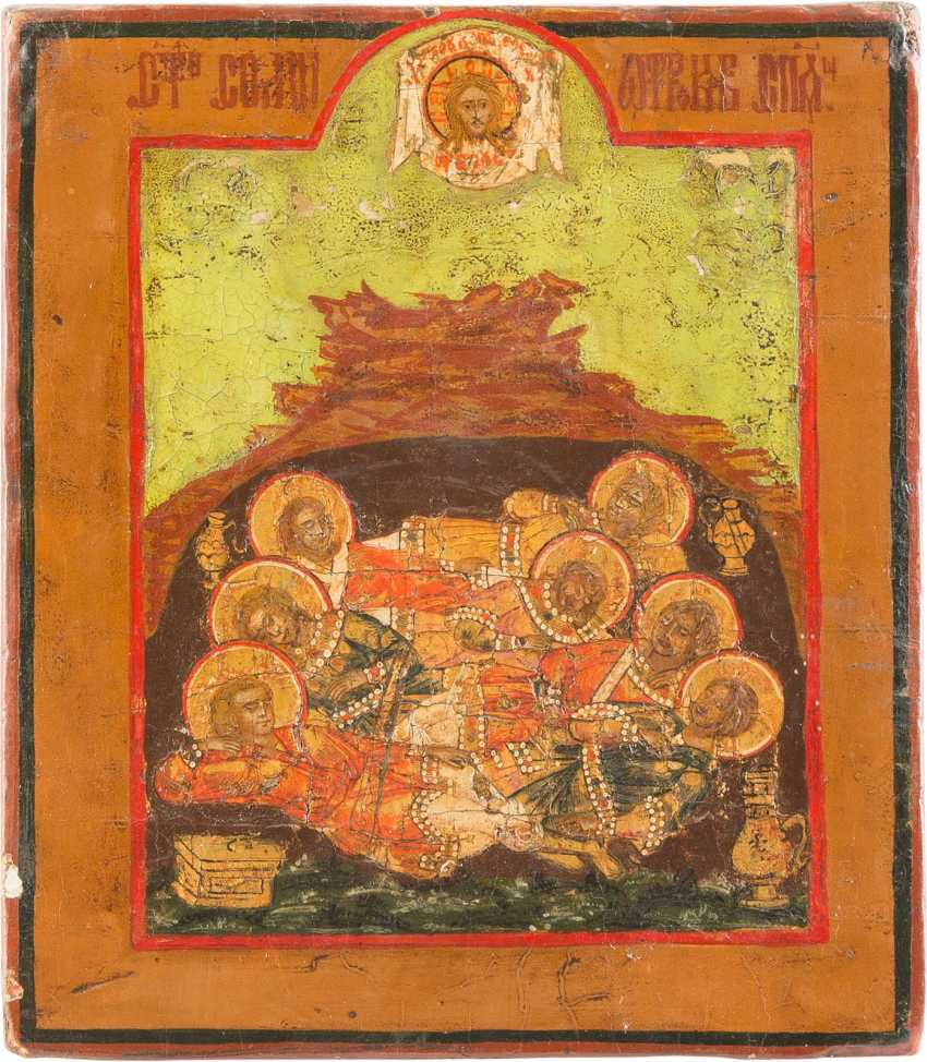 FOUR SMALL ICONS WITH THE SAINTS NICHOLAS OF MYRA, ST. MICHAEL THE ARCHANGEL AND THE SEVEN SLEEPERS OF EPHESUS - photo 3