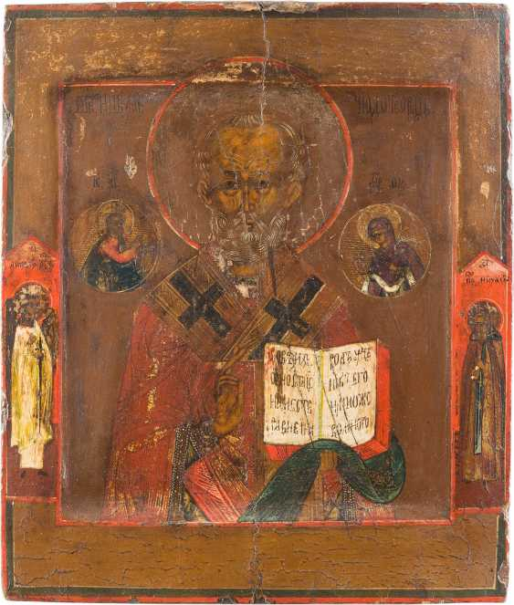 FOUR SMALL ICONS WITH THE SAINTS NICHOLAS OF MYRA, ST. MICHAEL THE ARCHANGEL AND THE SEVEN SLEEPERS OF EPHESUS - photo 5