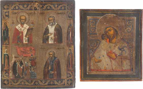 TWO ICONS: THE FOUR FIELDS ICON WITH SELECTED SAINTS AND THE MOTHER OF GOD OF VLADIMIR (VLADIMIRSKAYA) - photo 1