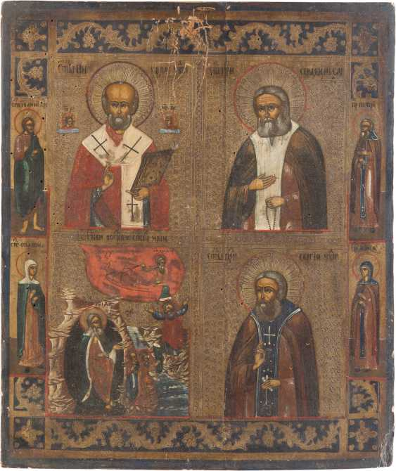 TWO ICONS: THE FOUR FIELDS ICON WITH SELECTED SAINTS AND THE MOTHER OF GOD OF VLADIMIR (VLADIMIRSKAYA) - photo 2