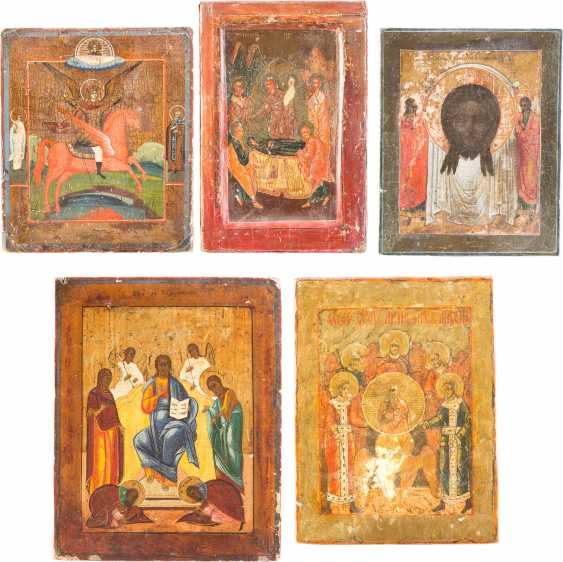 FIVE SMALL ICONS WITH THE MADYLION, THE SYNAXIS OF THE ARCHANGEL, OF THE DEESIS THE DORMITION OF THE MOTHER OF GOD AND THE ARCHANGEL MICHAEL - photo 1