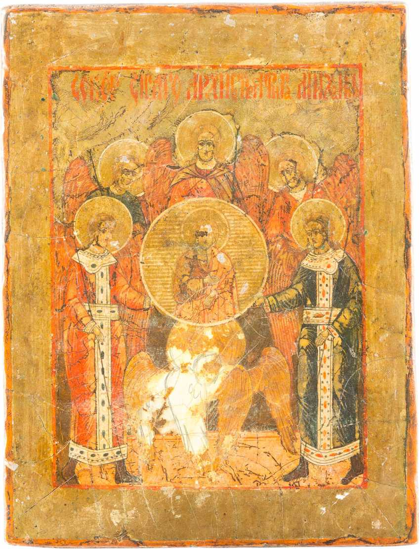 FIVE SMALL ICONS WITH THE MADYLION, THE SYNAXIS OF THE ARCHANGEL, OF THE DEESIS THE DORMITION OF THE MOTHER OF GOD AND THE ARCHANGEL MICHAEL - photo 2