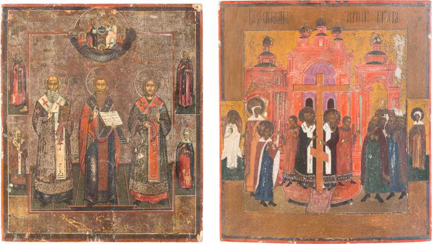 TWO ICONS: THE INCREASE OF THE TRUE CROSS AND THE THREE HIERARCHS - photo 1