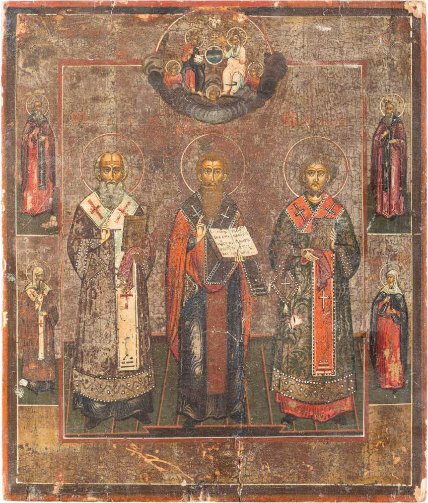 TWO ICONS: THE INCREASE OF THE TRUE CROSS AND THE THREE HIERARCHS - photo 3