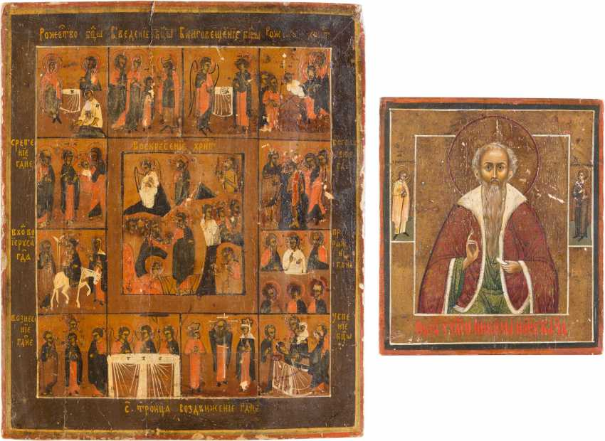 TWO ICONS: SMALL ICON WITH SAINT NICHOLAS AND HOLIDAY ICON - photo 1