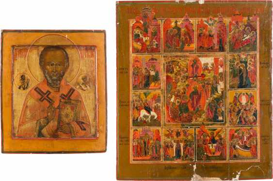 TWO ICONS: SAINT NICHOLAS OF MYRA AND LARGE FESTIVE ICON - photo 1
