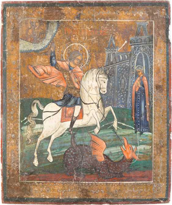 TWO ICONS: THE FOUR FIELDS-ICON AND SAINT GEORGE THE DRAGON SLAYER - photo 2