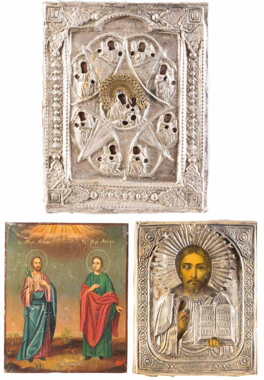 THREE ICONS: CHRIST PANTOCRATOR, FLORUS AND LAURUS, AS WELL AS THE MOTHER OF GOD 'NON-COMBUSTIBLE BUSH' - photo 1