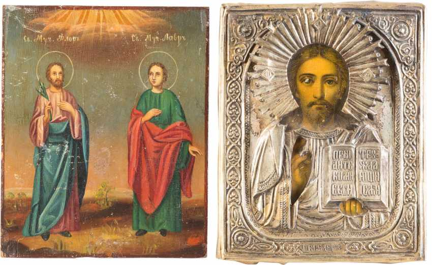 THREE ICONS: CHRIST PANTOCRATOR, FLORUS AND LAURUS, AS WELL AS THE MOTHER OF GOD 'NON-COMBUSTIBLE BUSH' - photo 3