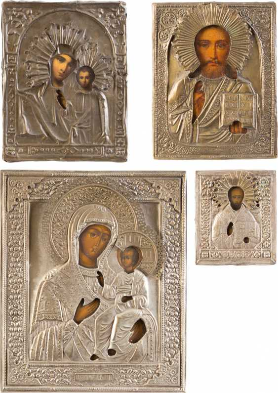 FOUR ICONS WITH OKLAD: MIRACULOUS IMAGES OF THE MOTHER OF GOD, CHRIST PANTOKRATOR AND ST. NICHOLAS OF MYRA - photo 1