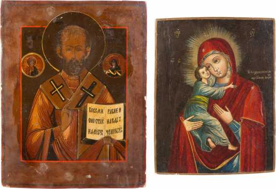 TWO ICONS: MOTHER OF GOD OF VLADIMIR (VLADIMIRSKAYA) AND SAINT NICHOLAS OF MYRA - photo 1