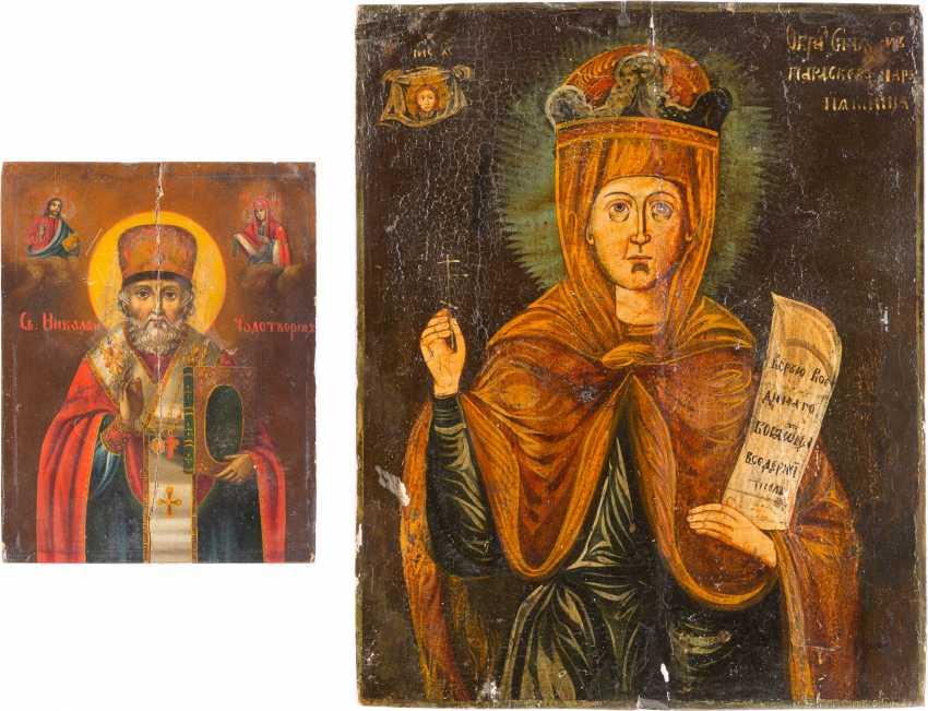 TWO ICONS: SAINT NICHOLAS OF MYRA AND PARASKEVA - photo 1