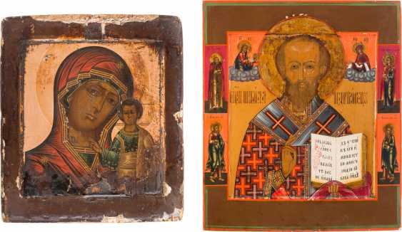 TWO ICONS OF THE MOTHER OF GOD OF KAZAN AND SAINT NICHOLAS OF MYRA - photo 1