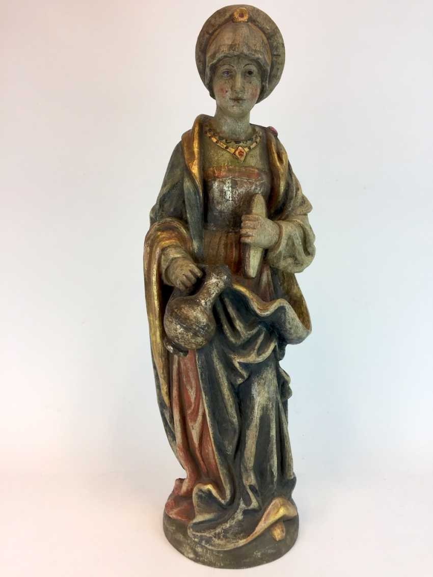 Unknown artist: wooden figure / wooden sculpture, Saint Elisabeth of Thuringia, Linden wood made, early 19th century. Century - photo 1