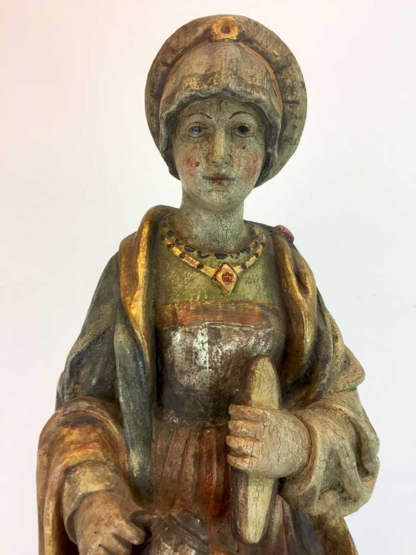 Unknown artist: wooden figure / wooden sculpture, Saint Elisabeth of Thuringia, Linden wood made, early 19th century. Century - photo 2