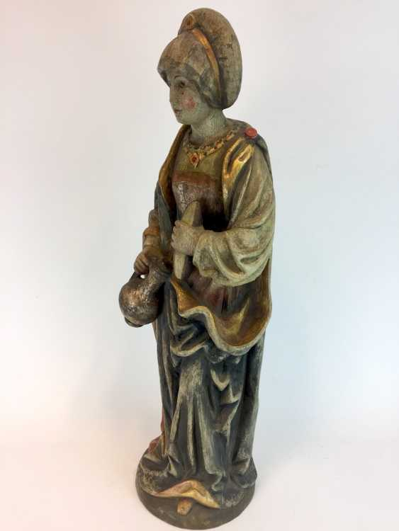 Unknown artist: wooden figure / wooden sculpture, Saint Elisabeth of Thuringia, Linden wood made, early 19th century. Century - photo 4