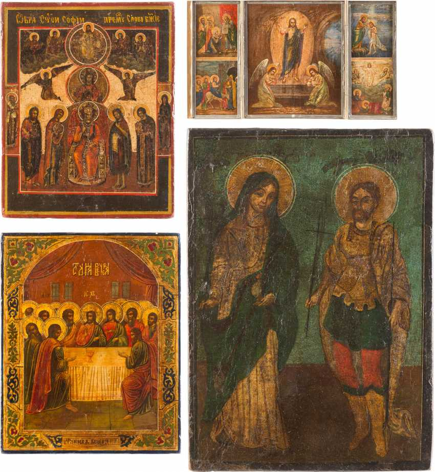 FOUR ICONS: TRIPTYCH WITH HIGH-STRENGTH, SOPHIA, THE DIVINE WISDOM, THE LAST SUPPER, AND TWO HOLY - photo 1
