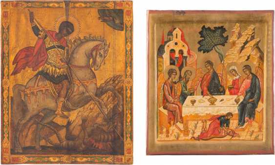 TWO ICONS: ST. GEORGE THE DRAGON SLAYER AND THE HOLY TRINITY OF THE OLD TESTAMENT - photo 1