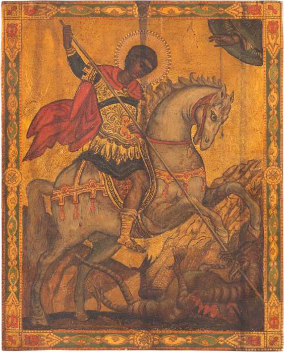 TWO ICONS: ST. GEORGE THE DRAGON SLAYER AND THE HOLY TRINITY OF THE OLD TESTAMENT - photo 2