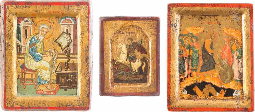 THREE ICONS OF ST GEORGE THE DRAGON SLAYER, THE ANASTASIS AND THE EVANGELISTS MATTHEW - photo 1