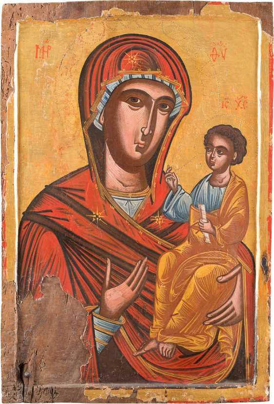 MONUMENTALE OLD PAAR IKONOSTASEN-IKONEN: GOTTESMUTTER PANAGIA PORTAITISSA UND CHRISTUS PANTOKRATOR - photo 1