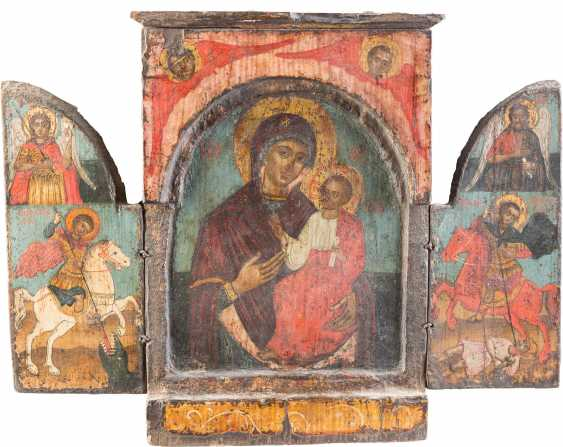 TRIPTYCH WITH THE MOTHER OF GOD HODEGETRIA WITH SELECTED SAINTS - photo 1