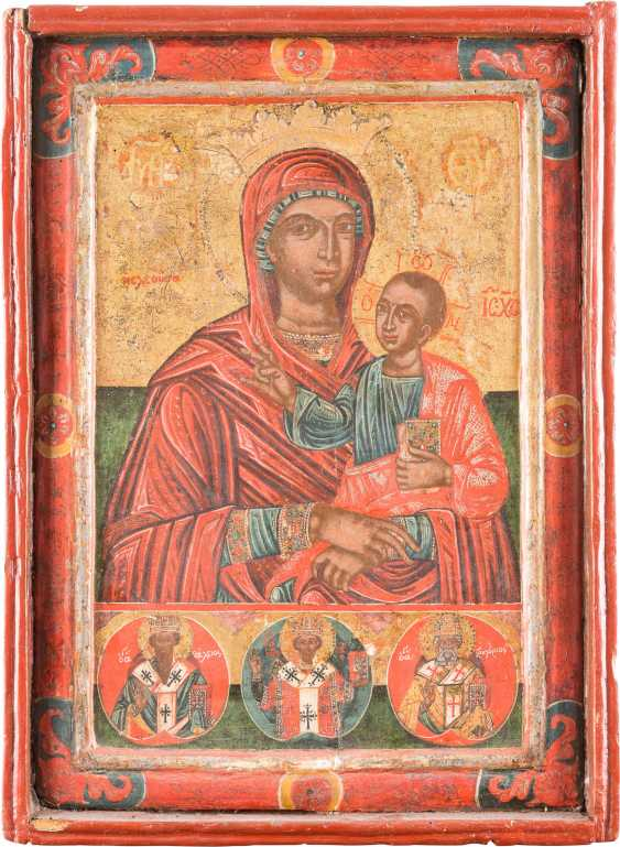 LARGE-SCALE ICON OF THE MOTHER OF GOD HODEGETRIA, AND THREE SAINTS - photo 1