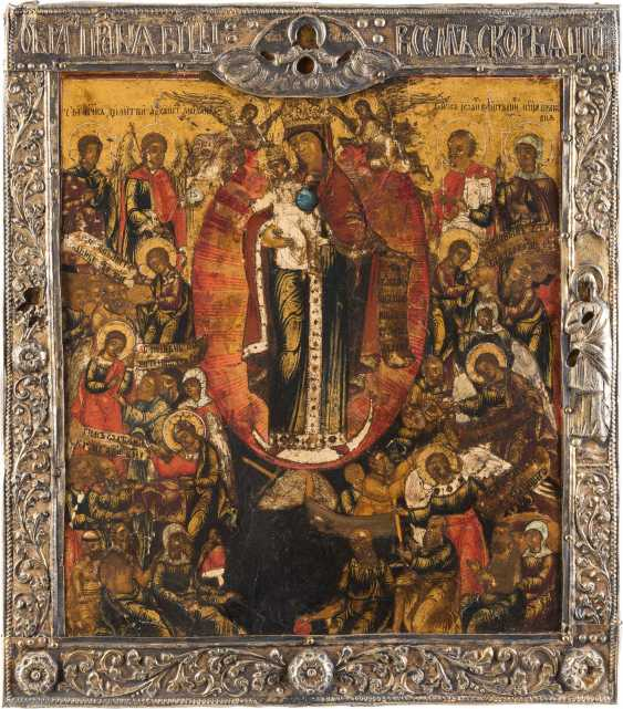 A FINE ICON OF THE MOTHER OF GOD 'JOY OF ALL WHO SORROW' WITH VERMEIL-BASMA - photo 1