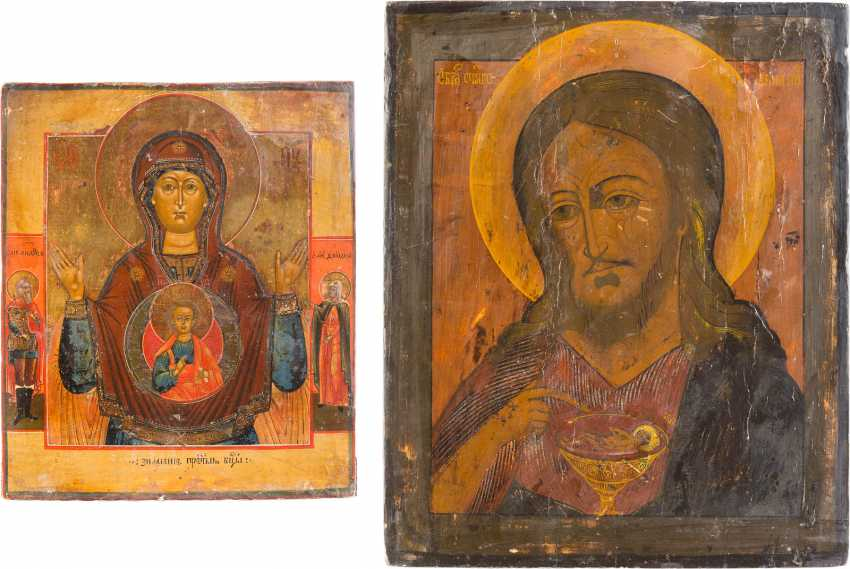 TWO ICONS: MOTHER OF GOD OF THE SIGN (ZNAMENIE), AND JOHN THE BAPTIST FROM DEESIS - photo 1
