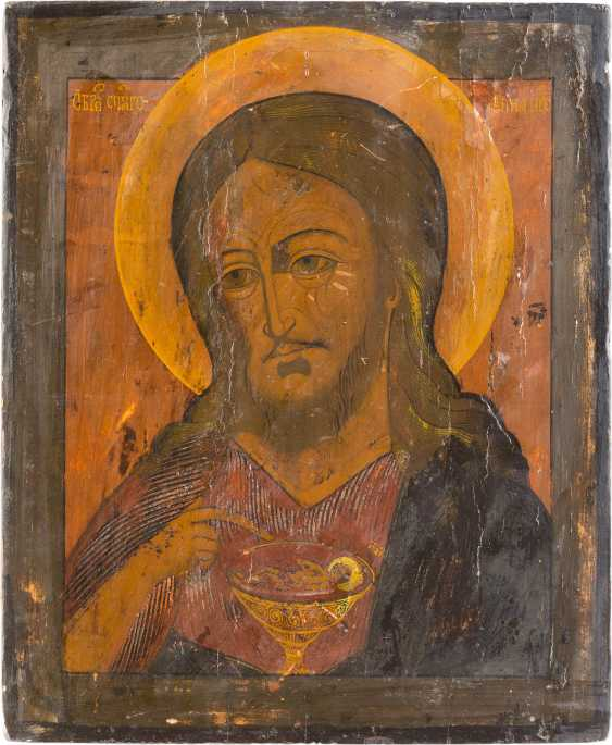 TWO ICONS: MOTHER OF GOD OF THE SIGN (ZNAMENIE), AND JOHN THE BAPTIST FROM DEESIS - photo 2