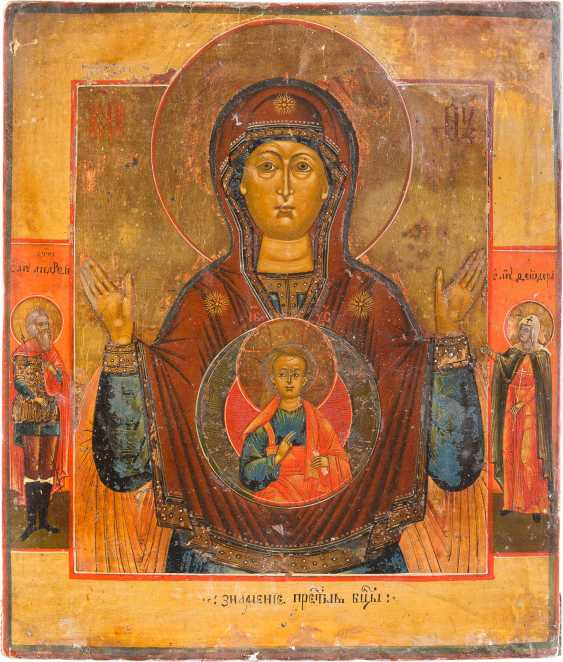 TWO ICONS: MOTHER OF GOD OF THE SIGN (ZNAMENIE), AND JOHN THE BAPTIST FROM DEESIS - photo 3