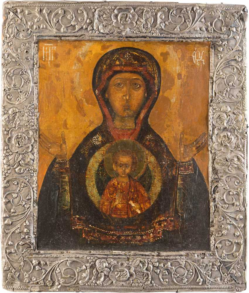 ICON OF THE MOTHER OF GOD OF THE SIGN (ZNAMENIE) WITH SILVER BASMA - photo 1