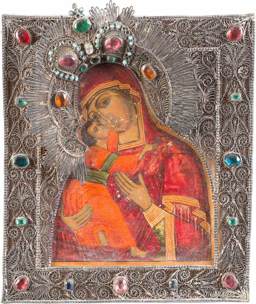 SMALL ICON OF MOTHER OF GOD OF VLADIMIR (VLADIMIRSKAYA) WITH FILIGREE RIZA - photo 1